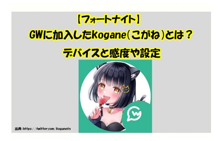 【フォートナイト】GWに加入したkogane(こがね)とは?デバイスと感度や設定